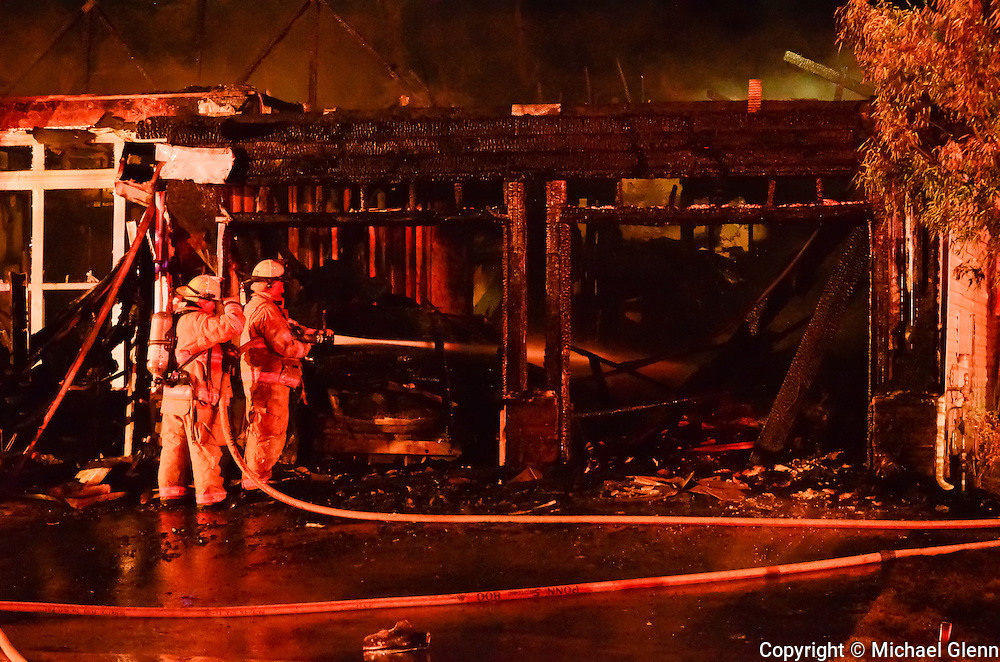 Bayville firemen use handline to put out 3 alarm fire at 85 Arborridge Drive in Lacey Township