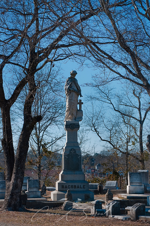 A monument stands near the back of Rose Hill Cemetery in Meridian, Mississippi. The historic cemetery is a favorite among tourists thanks to its famous inhabitants -- members of the Mitchell family, who were gypsy royalty. (Photo by Carmen K. Sisson/Cloudybright)