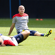 Michael Bradley, (centre), stretching during the New York Red Bulls Vs Portland Timbers, Major League Soccer regular season match at Red Bull Arena, Harrison, New Jersey. USA. 24th May 2014. Photo Tim Clayton