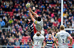 Charlie Ewels (co-capt) of Bath Rugby and Ian Evans of Bristol Rugby jump for the high ball  - Mandatory by-line: Joe Meredith/JMP - 26/02/2017 - RUGBY - Ashton Gate - Bristol, England - Bristol Rugby v Bath Rugby - Aviva Premiership