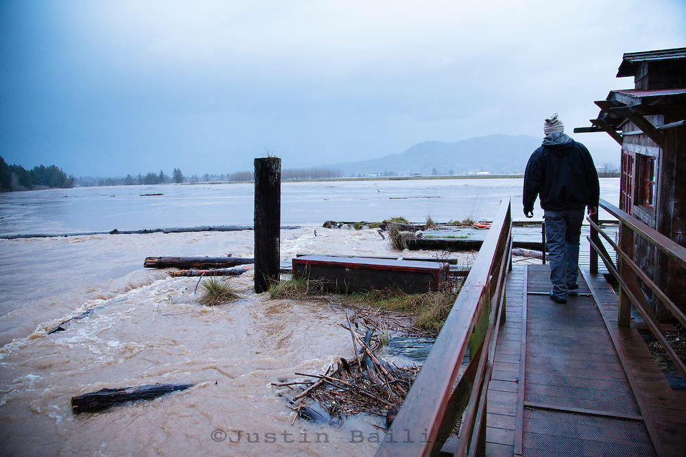 2015 image of the  Nehalem River flood, OR.