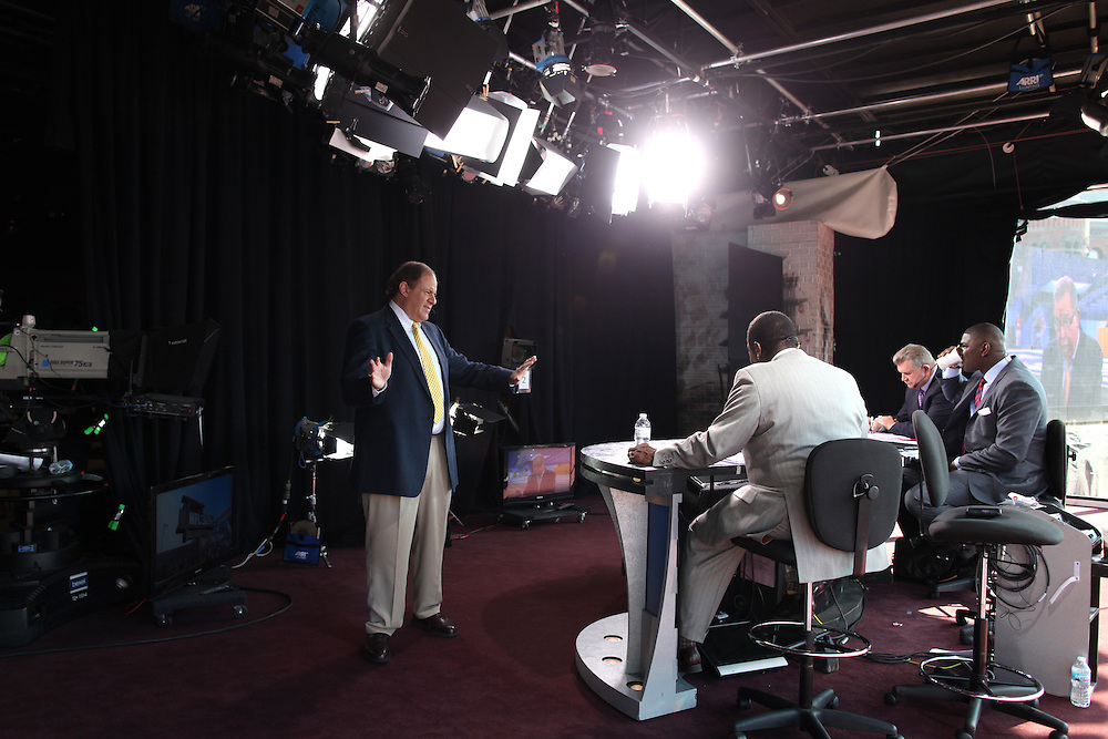 Chris Berman talks to Sunday NFL Countdown analysts  in Indianapolis, Ind. Sunday February 5, 2012. .Photo by Chris Bergin
