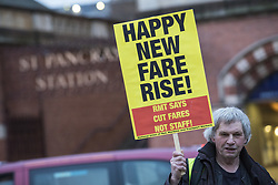 January 2, 2018 - London, London - London, UK. Commuters protest train ticket price increases at London Kings Cross Station. Rail fares have increased by an average of 3.4%, the biggest rise in five years. (Credit Image: © Rob Pinney/London News Pictures via ZUMA Wire)