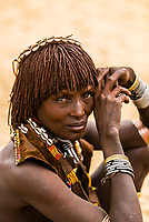 Hamer tribe people in their encampment, Omo Valley, Ethiopia.