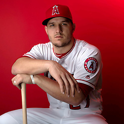 Los Angeles Angeles' Mike Trout #27 during photo day at Tempe Diablo Stadium on Tuesday, February 19, 2019 in Tempe, Arizona. (Photo by Keith Birmingham, Pasadena Star-News/SCNG)
