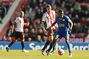 Leicester City midfielder Daniel Amartey (13)  during the Barclays Premier League match between Sunderland and Leicester City at the Stadium Of Light, Sunderland, England on 10 April 2016. Photo by Simon Davies.