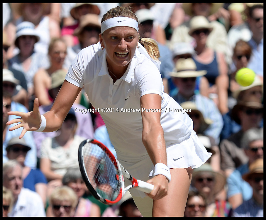 Image &copy;Licensed to i-Images Picture Agency. 03/07/2014. London, United Kingdom. Petra Kvitova in the  Wimbledon Ladies Singles Semi Finals against Lucie Safarova <br />  at Wimbledon. Picture by Andrew Parsons / i-Images