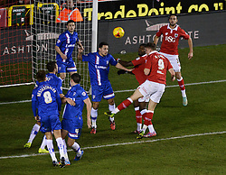 Bristol City's Matt Smith scores a goal. - Photo mandatory by-line: Alex James/JMP - Mobile: 07966 386802 - 29/01/2015 - SPORT - Football - Bristol - Ashton Gate - Bristol City v Gillingham - Johnstone Paint Trophy Southern area final