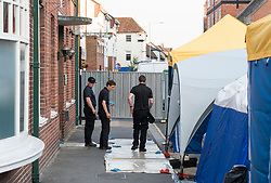 © Licensed to London News Pictures. 05/07/2018. Salisbury, UK. Members of a specialist search team prepare to carry out work at John Baker House in Salisbury, Wiltshire an area visited by two people who are in critical condition after being exposed to the Novichok nerve agent. Dawn Sturgess, 44, and Charlie Rowley, 45 hav been confirmed as having come in to contact with the deadly agent after samples were sent to the MoD's Porton Down laboratory. Former Russian spy Sergei Skripal and his daughter Yulia were poisoned with Novichok nerve agent in nearby Salisbury in March 2018 causing diplomatic tentions between Russia and the UK. Photo credit: Ben Cawthra/LNP
