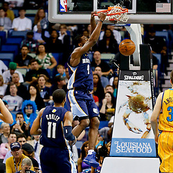 Mar 22, 2013; New Orleans, LA, USA; Memphis Grizzlies shooting guard Tony Allen (9) dunks against the New Orleans Hornets during the first quarter of a game at the New Orleans Arena.  Mandatory Credit: Derick E. Hingle-USA TODAY Sports