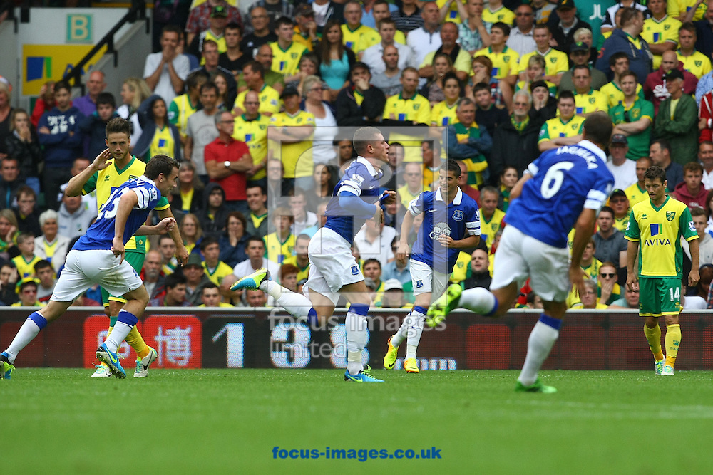 Picture by Paul Chesterton/Focus Images Ltd +44 7904 640267<br /> 17/08/2013<br /> Ross Barkley of Everton scores his sides 1st goal and celebrates during the Barclays Premier League match at Carrow Road, Norwich.