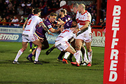 The Giants defence stop a Rovers player during the Betfred Super League match between Hull Kingston Rovers and Huddersfield Giants at the Hull College Craven Park  Stadium, Hull, United Kingdom on 21 February 2020.