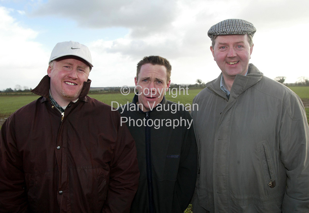 20/2/2002 .Michael Drew from Co. Meath, Garret Culligan from Ardee and Tony McGuinness from Ardee, pictured at the Ecotilage open day at the Ecotilage research centre near Castledermot Co Kildare..Picture Dylan Vaughan