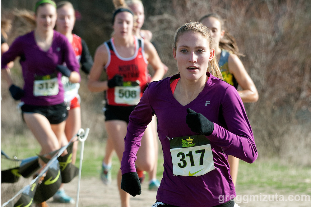 Amy-Eloise Neale takes an early lead in the NXN Northwest Girls Championship race on November 10, 2012 at Eagle Island State Park in Boise, Idaho. Neale defended her title winning the race in 17:29.3.