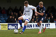 Gillingham forward Luke Norris and Southend United defender Adam Thompson during the Sky Bet League 1 match between Southend United and Gillingham at Roots Hall, Southend, England on 19 March 2016. Photo by Martin Cole.
