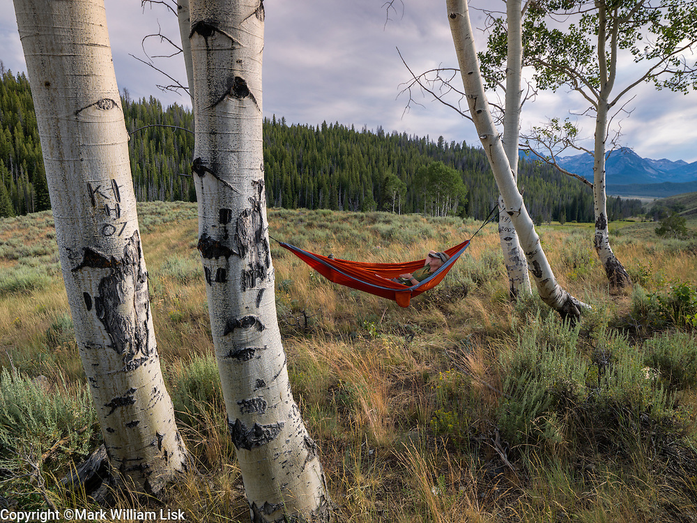 Nothing like a relaxing day in a hammock on a grassy ridge line overlooking the Sawtooth Wilderness.