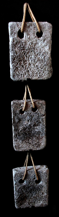 Lead weights used for hoist counter-balancing. Found in the Flavian amphitheatre. 3rd century AD. Roman.