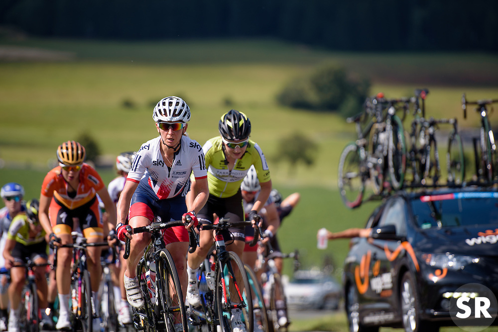 Emma Pooley leads a very large gruppetto on a challenging day at Thüringen Rundfarht 2016 - Stage 6 a 130 km road race starting and finishing in Schleiz, Germany on 20th July 2016.