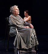 Waste <br /> by Harley Granville Barker<br /> at the Lyttelton Theatre, NT, Southbank, London, Great Britain <br /> 9th November 2015 <br /> <br /> Olivia Williams as Amy O'Connell <br /> Doreen Mantle as Countess Mortimer <br /> <br /> <br /> Photograph by Elliott Franks <br /> Image licensed to Elliott Franks Photography Services