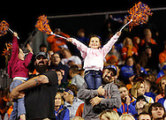 Boise State fans cheer on the Broncos against Idaho State at Albertsons Stadium on Friday Sept. 18, 2015 in Boise, ID.