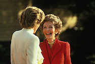 Lady Diana and First Lady Nancy Reagan talk on the South Lawn of the White House in November 1985..Photograph by Dennis Brack bb30