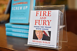 "© Licensed to London News Pictures. 07/01/2018. CHICAGO, USA.  An audiobook of the new book ""Fire and Fury, Inside the Trump White House"", by Michael Wolff is on display in Barnes & Noble bookshop in downtown Chicago.  Barnes & Noble have already received advanced orders ahead of the official on sale date of 9 January, but some other booksellers have obtained advance copies which have sold immediately sold out.   Photo credit: Stephen Chung/LNP"