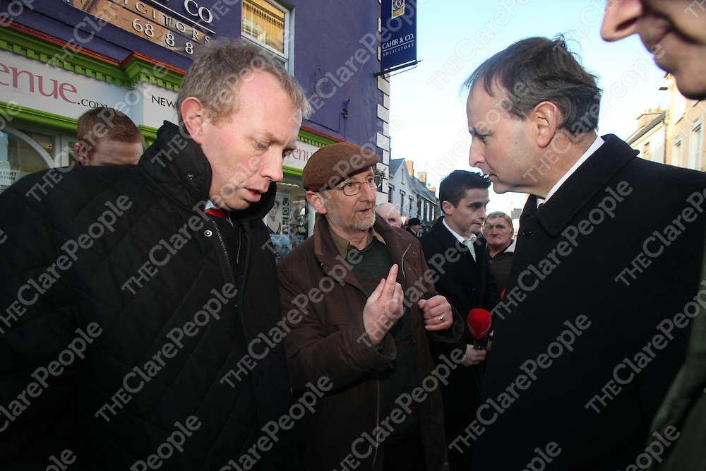 Micheal Martin Fianna Fail Leader and Timmy Dooley pictured on walk about in Ennis Co Clare on Wednesday.<br /> Pic. Brian Arthur/ Press 22.