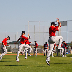 February 18, 2011; Fort Myers, FL, USA; Boston Red Sox pitchers workn out during spring training at the Player Development Complex.  Mandatory Credit: Derick E. Hingle