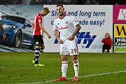 Billy Kee (29) of Accrington Stanley during the EFL Sky Bet League 2 match between Exeter City and Accrington Stanley at St James' Park, Exeter, England on 25 November 2017. Photo by Graham Hunt.
