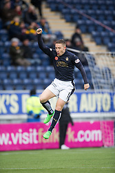 Falkirk's John Baird cele scoring their first goal. <br /> half time : Falkirk 3 v 0 Alloa Athletic, Scottish Championship game played at The Falkirk Stadium.
