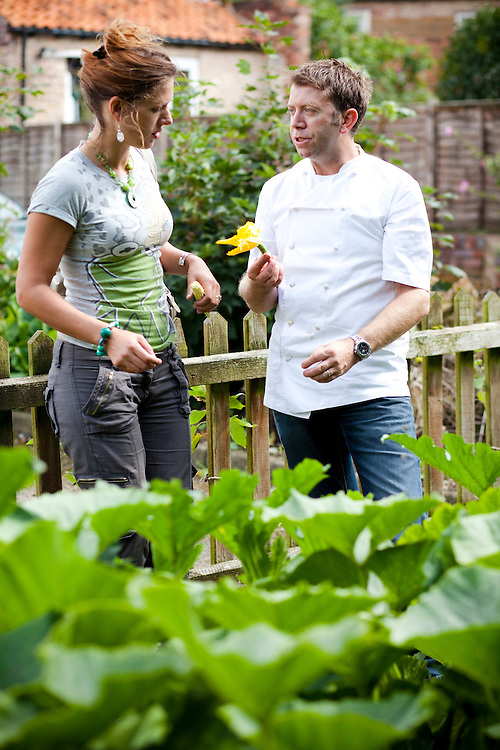 Chef Sean Hope and Anontia Windsor in the pub carpark & vegetable garden at the Red Lion Inn. Leicestershire