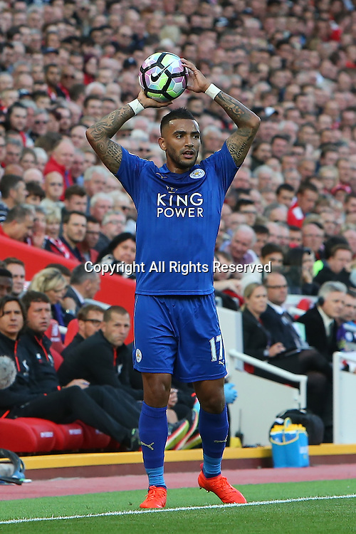10.09.2016. Anfield, Liverpool, England. Premier League Football. Liverpool versus Leicester. Danny Simpson of Leicester City takes a throw in.