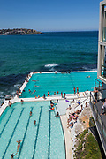 Locals and tourists relaxing at Bondi Icebergs, Bondi, Beach, Sydney, Australia.