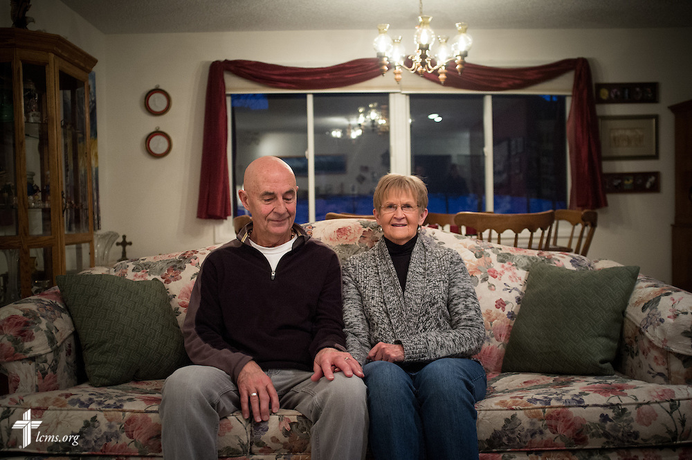 Portrait of Rev. Henry Rische and his wife Marian at their home in Estes Park, Colo., on Tuesday, Jan. 7, 2014. Henry, the former pastor of Mount Calvary Lutheran Church in Estes Park, received assistance from the church to repair their home, which was damaged in the September floods. LCMS Communications/Erik M. Lunsford