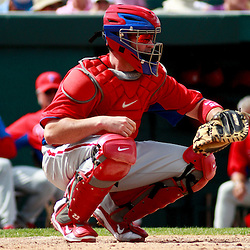March 9, 2011; Lakeland, FL, USA; Philadelphia Phillies catcher Brian Schneider (23) during a spring training exhibition game against the Detroit Tigers at Joker Marchant Stadium.   Mandatory Credit: Derick E. Hingle