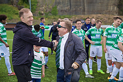 RHOSYMEDRE, WALES - Sunday, May 5, 2019: The New Saints' manager Scott Ruscoe (L) celebrates with club chairman Mike Harris during the FAW JD Welsh Cup Final between Connah's Quay Nomads FC and The New Saints FC at The Rock. (Pic by David Rawcliffe/Propaganda)