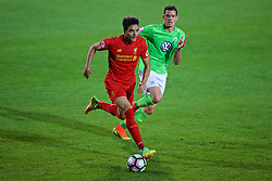 BIRKENHEAD, ENGLAND - Wednesday, September 28, 2016: Liverpool's Tiago Ilori in action against Wolfsburg during the Premier League International Cup match at Prenton Park. (Pic by David Rawcliffe/Propaganda)