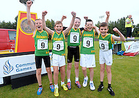 14 Aug 2016:  Kerry team celebrate winning the Mixed Distance Relay U12 & O10 Boys final. 2016 Community Games National Festival 2016.  Athlone Institute of Technology, Athlone, Co. Westmeath. Picture: Caroline Quinn