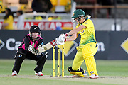Meg Lanning cuts. Women's T20 international Cricket , Australia v New Zealand White Ferns. North Sydney Oval, Sydney, NSW, Australia. 29 September 2018. Copyright Image: David Neilson / www.photosport.nz