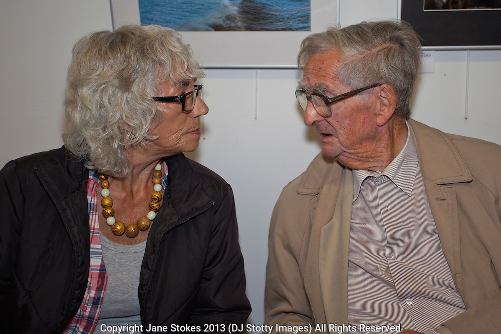 Jackie Moon and Denis Healey<br /> <br /> Seaford Photographic Society 2013 Exhibition opening in the Crypt Gallery in Seaford East Sussex by the President;  The Right Honourable The Lord Denis Healey former Deputy Leader of the Labour Party. Free entry and open 1000-1700 from 21 September to 6 October 2013