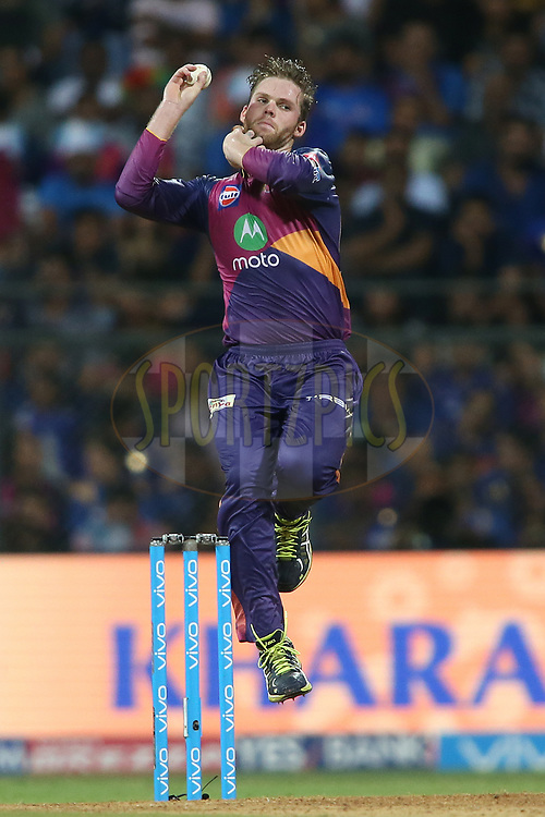 Lockie Ferguson of Rising Pune Supergiant during The Qualifier 1 match (match 57) of the Vivo 2017 Indian Premier League between the Mumbai Indians and the Rising Pune Supergiant held at the Wankhede Stadium in Mumbai, India on the 16th May 2017<br /> <br /> Photo by Shaun Roy - Sportzpics - IPL