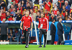 LILLE, FRANCE - Friday, July 1, 2016: Wales' Ben Davies and Joe Allen inspect the pitch before the UEFA Euro 2016 Championship Quarter-Final match against Belgium at the Stade Pierre Mauroy. (Pic by David Rawcliffe/Propaganda)