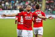 DEN HAAG - 21-04-2016, ADO Den Haag - AZ, Kyocera Stadion, AZ speler Dabney dos Santos Souza heeft de 0-1 gescoord, juicht, juichen.