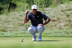 September 2, 2018 - Norton, Massachusetts, United States - Tiger Woods lines up a putt on the 8th green during the third round of the Dell Technologies Championship. (Credit Image: © Debby Wong/ZUMA Wire)