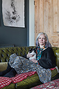Gateshead, England, UK, January 24 2019 - At Irish artist Claire Morgan's home & studio, next to Newcastle. Portrait in her living room.