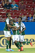 FRISCO, TX - JUNE 26:  Darlington Nagbe #6 of the Portland Timbers celebrates with teammates after a goal against FC Dallas on June 26, 2013 at FC Dallas Stadium in Frisco, Texas.  (Photo by Cooper Neill/Getty Images) *** Local Caption *** Darlington Nagbe