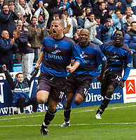 GILLINGHAM VS CARDIFF CITY<br /> 3RD APRIL 2004<br /> GILLINGHAM'S CHRIS HOPE CELEBRATES HIS EQUALISER AGAINST CARDIFF CITY'S DURING THEIR DIVISION 1 MATCH AT PRIESTFIELD.<br /> ADY KERRY
