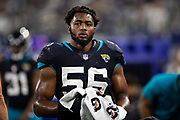 ARLINGTON, TX - OCTOBER 14:  Dante Fowler Jr. #56 of the Jacksonville Jaguars on the sidelines during a game against the Dallas Cowboys at AT&T Stadium on October 14, 2018 in Arlington, Texas.  The Cowboys defeated the Jaguars 40-7.  (Photo by Wesley Hitt/Getty Images) *** Local Caption *** Dante Fowler Jr.