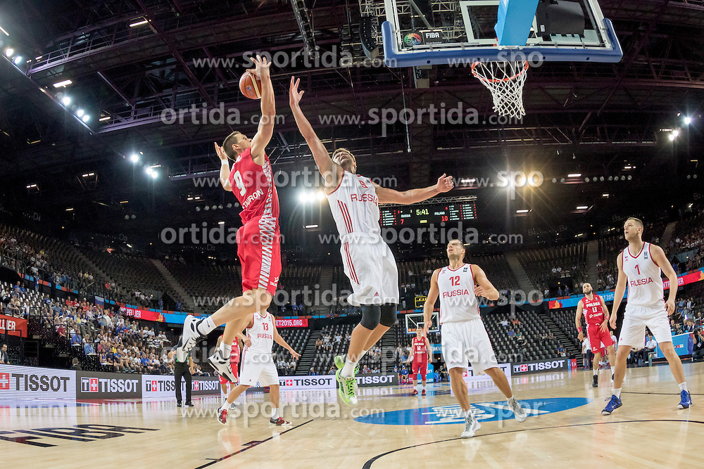 06.09.2015, Park Suites Arena, Montpellier, FRA, Russland vs Polen, Gruppe A, im Bild MATEUSZ PONITKA (9), EGOR VYALTSEV (9) // during the FIBA Eurobasket 2015, group A match between Russia and Poland at the Park Suites Arena in Montpellier, France on 2015/09/06. EXPA Pictures &copy; 2015, PhotoCredit: EXPA/ Newspix/ Pawel Pietranik<br /> <br /> *****ATTENTION - for AUT, SLO, CRO, SRB, BIH, MAZ, TUR, SUI, SWE only*****