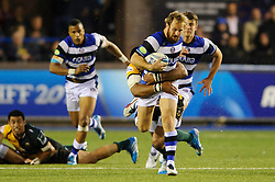 Bath Full Back Nick Abendanon is tackled - mandatory by-line: Rogan Thomson/JMP - Tel: 07966 386802 - 23/05/2014 - SPORT - RUGBY UNION - Cardiff Arms Park, Wales - Bath Rugby v Northampton Saints - Amlin Challenge Cup Final.